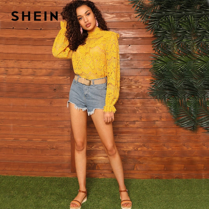 628fa5e34b426 SHEIN Yellow Lady Elegant Mock-Neck Bishop Sleeve Lace Top Blouse Women  Streetwear Glamorous Stand Collar 2019 Spring Solid Tops