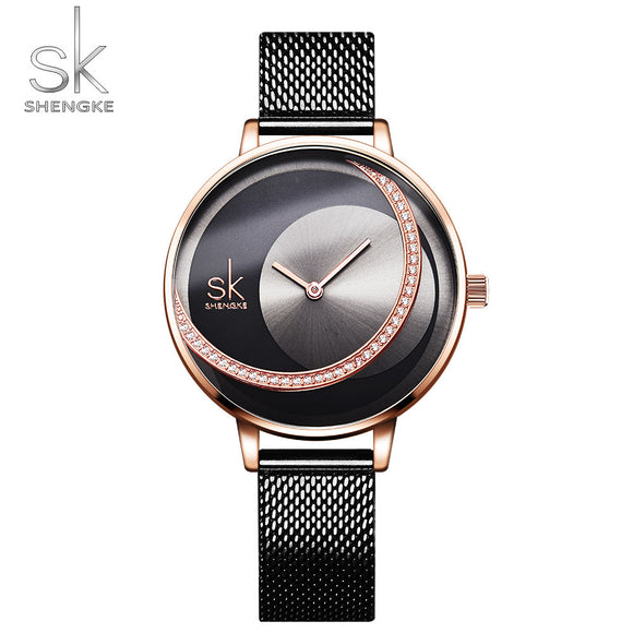 Brand Women Watch Creative Rhinestone Cool Black Stainless Quartz Watches Lady's Fashion Casual Waterproof Gift Clock