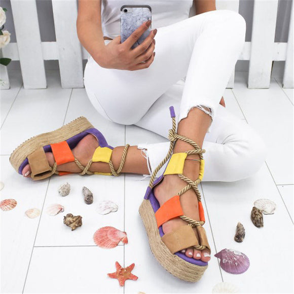SHUJIN 2019 Fashion Summer Women Sandals Female Beach Shoes Wedge Shoes High Heel Comfortable Platform Sandals Plus Size