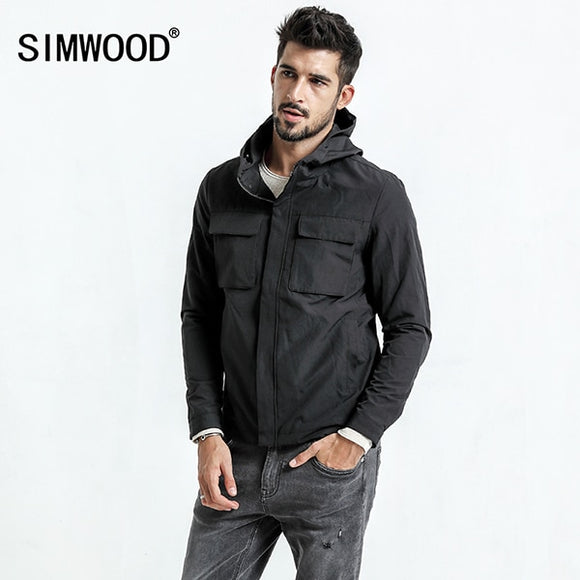 SIMWOOD 2019 Spring New Jackets Men Pockets Fashion Military Jacket Windbreaker Casual Coats Slim Fit Plus Size JK017008
