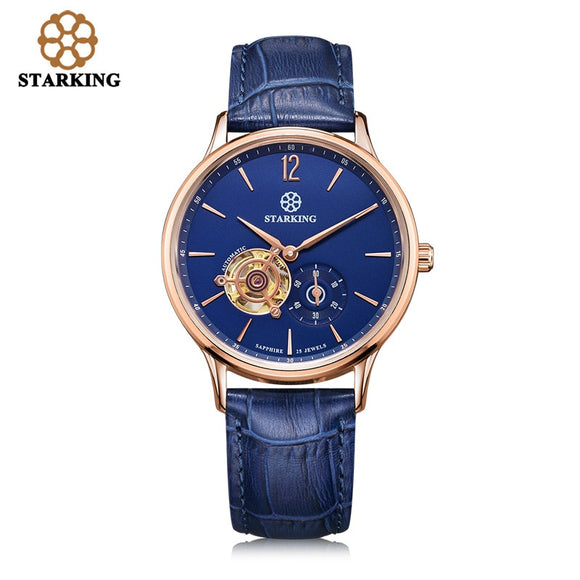 STARKING New Brand Men Mechanical Wristwatches Skeleton Tourbillon Analog Automatic Genuine Leather Famous Brand Blue Watch Male