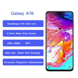 "Samsung Galaxy A70 smartphone 6.7"" Infinity U Display 6GB 128GB Snapdragon 675 Octa Core 4500mAh Fast Charging NFC mobile phone"