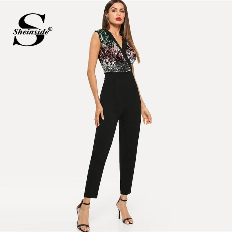 4bb4c63a6afb4 Sheinside Fashion Colorblock Sequin Party Jumpsuit Women Summer Sexy  Sleeveless Black Jumpsuits 2019 New V Neck Tapered Jumpsuit