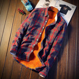 Shirt Men Plaid Flannel Shirts Mens Casual Autumn Winter Spring Thick Warm Fleece Cotton Long Sleeve Shirt RS-325