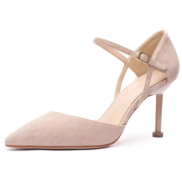 Shoes Woman 2020 Thin High Heels Office Lady Career Flock Pointed Toe Ankle Strap Two-Piece Elegant Sexy Heel Heeled Sandals