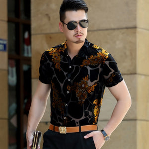 Silk Big Flower Shirt Transparent Shirt For Men Sexy Lace See Through Male Shirt Chemise Homme Desinger Fancy Proms Silk Shirt