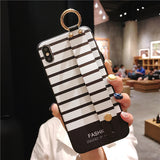 SoCouple Wrist Strap Phone Cases For iPhone Xs max Case For iPhone 11 Pro Max 7 8 6 6s Plus X XS XR  Stripe Soft TPU Back Cover