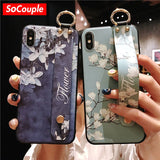 SoCouple Wrist Strap Phone Holder Cases For iPhone 11 Pro Max Case For iPhone 7 8 6 6S Plus X XS Max XR Soft TPU Back Cover