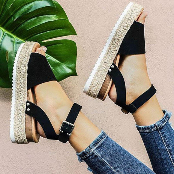 Summer Sandals Shoes Woman 2019 Zapatos De Mujer Casual Women's Rubber Sole Studded Wedge Buckle Ankle Strap Open Toe Sandals