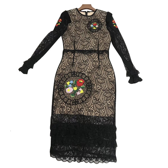 TWOTWINSTYLE Autumn Patchwork Lace Dress For Women O Neck Long Sleeve High Waist Pencil Slim Dresses Female Fashion New 2019