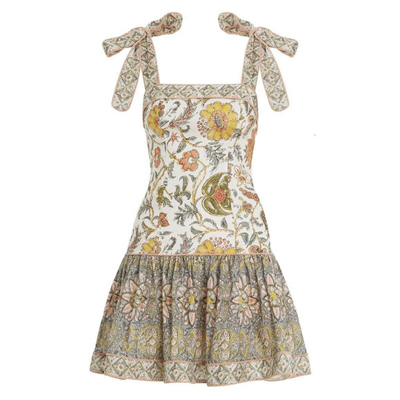 TWOTWINSTYLE Print Patchwork Ruffle Women's Dress Square Collar Spaghetti Strap High Waist Mini Dresses Female 2019 Fashion Tide
