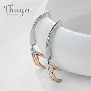 Thaya Koi Wagging Tail s925 Silver Stud Earrings Rose Gold Glossy Hollow Earrings Elegant Jewelry for Women Refreshing Fish