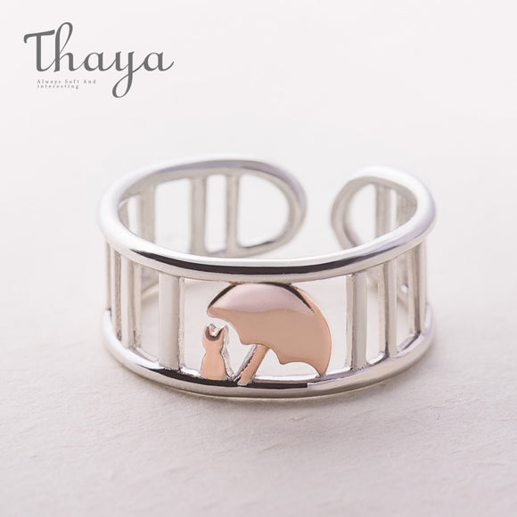 Thaya S925 Silver Rose Gold Umbrella Protect Cat Ring Wedding Bands Roman Column Jewelry Animal Style Finger Ring For Women