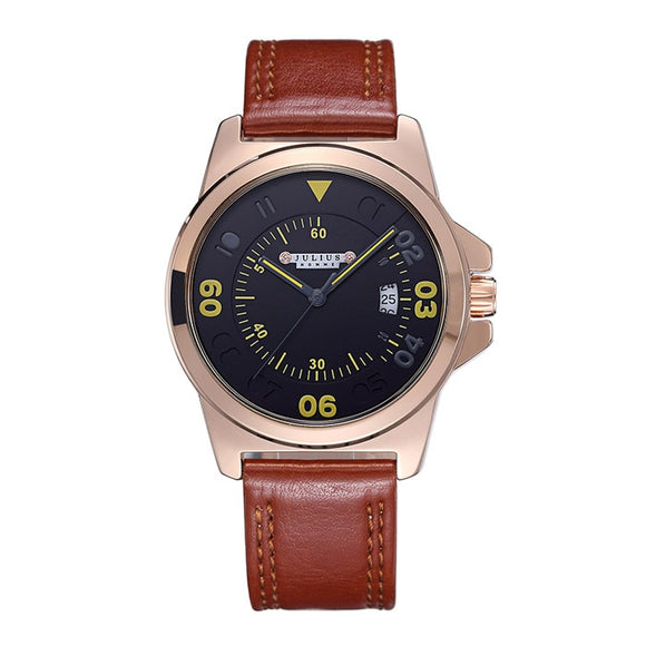 Top Julius Men's Homme Wrist Watch Big Fashion Hours Dress Bracelet Retro Leather Young Student Boy birthday Christmas Gift