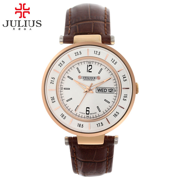 Top Julius Men's Homme Wrist Watch Multicolors Fashion Hours Dress Business Retro Leather Boy Birthday Christmas Gift 059