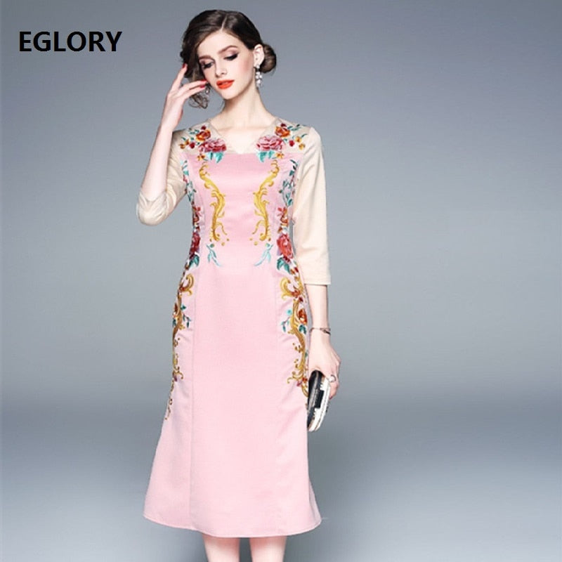 Top Quality Brand Chinese Dress 2019 Spring Summer Pink Dress Women  Luxurious Embroidery Midi Party Bodycon Dress Plus Size XXL