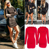 Trendy Women dress solid slim sexy casual Hooded Long Sleeve Bodycon cotton Mini Dresses one pieces