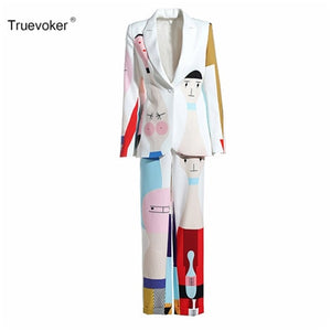 Truevoker Spring Designer Set Suit Women's High Quality Long Sleeve Cute Colorful Cartoon Printed Casual Blazer + Pant Suit