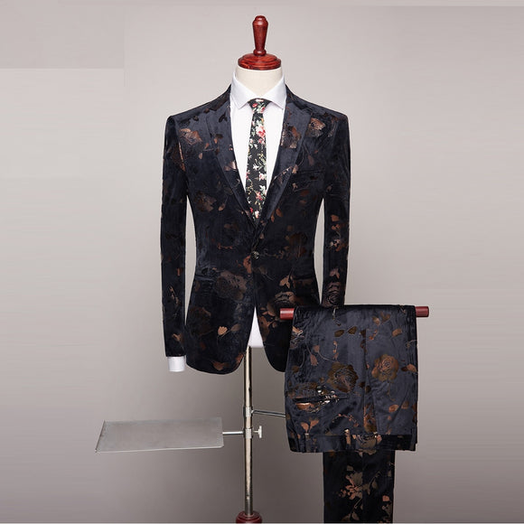 Two Piece Men Slim Fit 2019 Wedding Suits Fashion Design Mens Floral Print Suits Party Dinner Prom Wear Latest Coat Pant Designs
