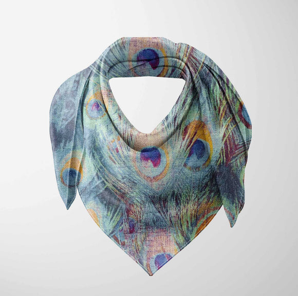Else Green Blue Yellow Peacock Bird Feathers 3d Printed Square Rayon Fabric Neck Head Floral Pattern Scarf Scarves Women Hijab