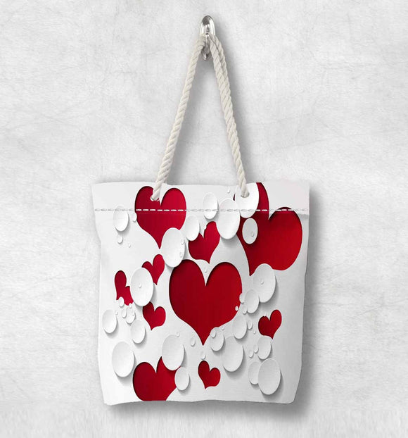 Else White Red Love Romantic Hearts New Fashion White Rope Handle Canvas Bag Cotton Canvas Zippered Tote Bag Shoulder Bag