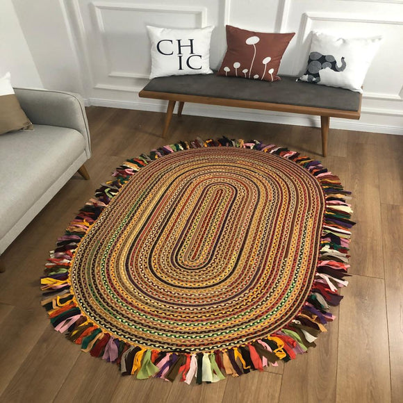 Else Natural Organic Jute Carpet Sisal Natural Fiber Collection Hand Woven Jute Area Rug For Home Living Room Floor Round Carpet