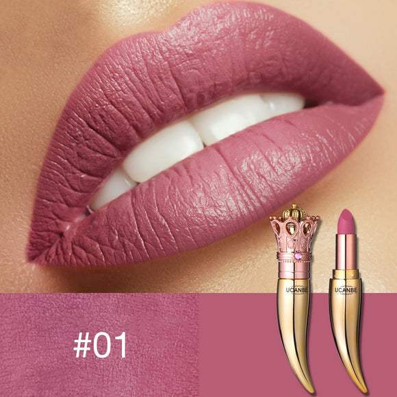 UCANBE Brand Velvet Matte Lipstick Set Luxury Queen Crown Creamy Lip Stick Gentle Pink Nude Makeup Waterproof Lasting Cosmetics