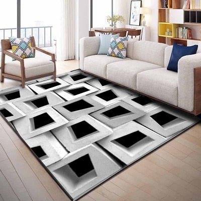 Else Gray White Black Cubes Abstract Geometric 3d Print Non Slip Microfiber Living Room Decorative Modern Washable Area Rug Mat