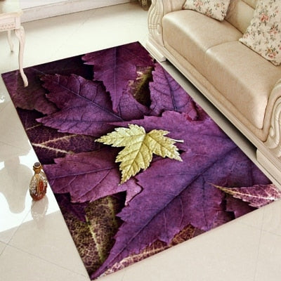 Else Purple Sycamore leaves Yellow Leaf Autumn 3d Print Non Slip Microfiber Living Room Decorative Modern Washable Area Rug Mat