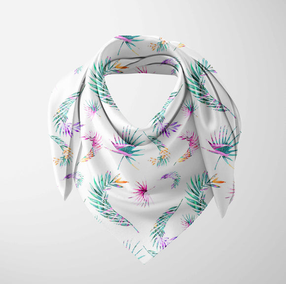 Else Pink Green Purple Tropical Leaves Floral 3d Printed Square Rayon Fabric Neck Head Floral Pattern Scarf Scarves Women Hijab