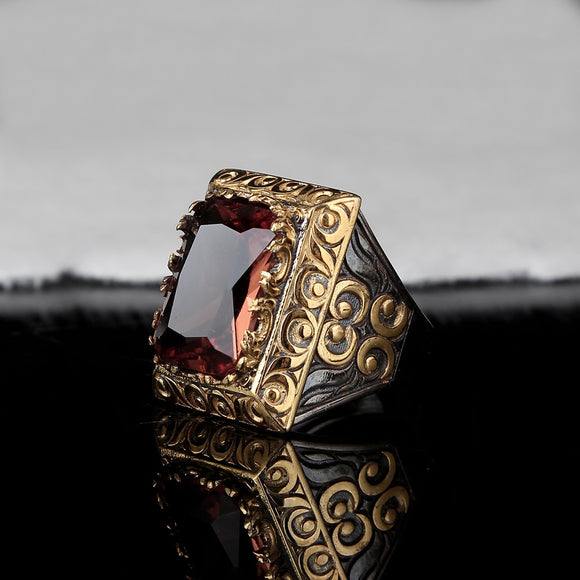 Handmade Mens Silver Zultanite Ring, Man 925 Silver Ring, Zultanite Ring, Silver Handmade Rectangular Zultanit Ring