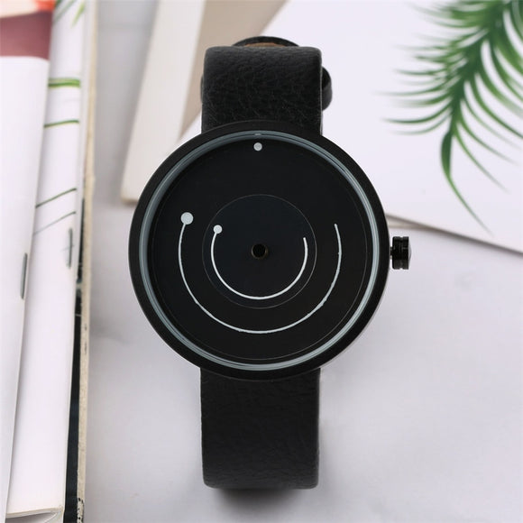 Unique Fashion Wristwatch for Men Quartz Minimalist Turntable Design Watches Mens Genuine Leather Men's Clock Top Gifts Item