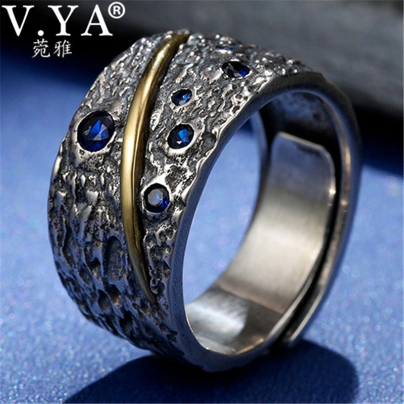 V YA Blue Zircon 925 Sterling Silver Ring for Men Thai Silver Open Ring  Homme Fashion Jewelry Anillos Gifts