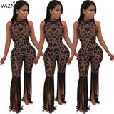 VAZN New 2019 Brand High Quality Sexy Style Women Jumpsuits Solid O-Neck Tank Sleeve Tassel Hollow Out Lady Romper YD8052