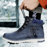 VESONAL 2019 Warm Autumn Winter classic leather Ankle Men Boots snow Shoes fur plush Male Casual Boot Sneakers Footwear