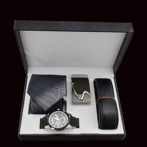 Valentine's Day Men Watch Gift Set Quartz Wrist Watch Leather Belt Tie For Father Gift New Year's Gift Business Gift Box