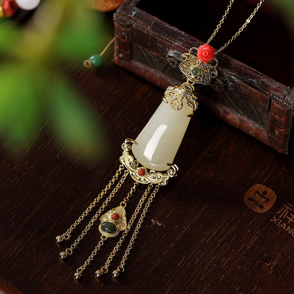 Vintage 925 Sterling Silver Gold Plated Jade Agate Flower Tassels Pendant Royal Court Style Gemstone Pendants Fine Jewelry Women