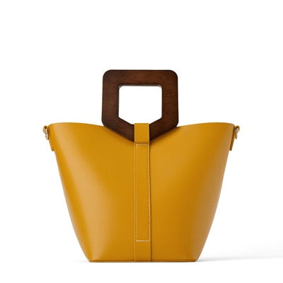 Vintage Fashion Female Tote bag 2019 New Quality PU Leather Women's Wooden handle Designer Handbag Shopping Messenger bag Bolsas