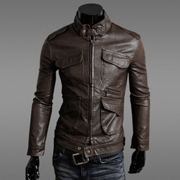 Vintage  Motorcycle Leather Jackets Men Autumn and Winter Leather Clothing Men Leather Jackets Male Business casual Coats