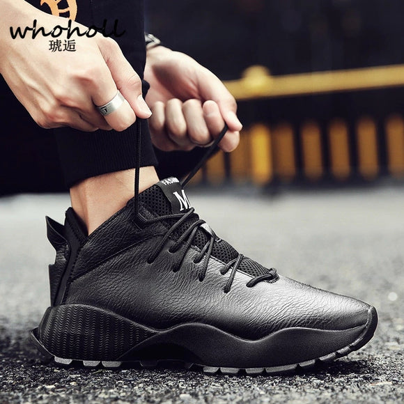 WHOHOLL 2019 Spring Men sneakers Shoes Trainers Genuine leather Casual Men Flat shoes Black Sneaker Footwear Zapatos De Hombre