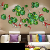 Wall Background Hanging Lotus Leaf Fish Wall Decoration Crafts 3D Stereo Livingroom Creative House Ornament Home Wall Mural Art