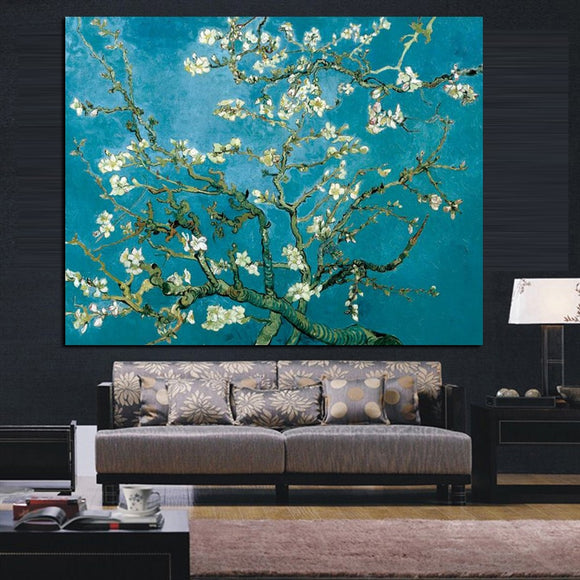 Wall Canvas Art Van Gogh Blossoming Almond Tree Impressionist Oil Painting Poster and Print Flower Wall Picture for Living Room