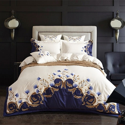 White Blue Embroidered Bedding set Luxury Egyptian Cotton Soft Royal Bed set Duvet Cover Bed Sheet set 4Pcs King Queen size