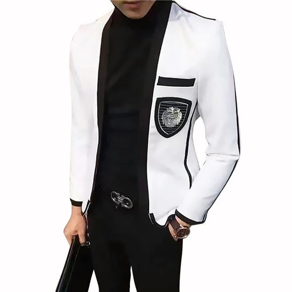 White Mens Blazer Jacket Teenagers Man's Suit Hairstyle Division Handsome Trend Single Product Leisure Time Then Blazer Hombre