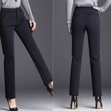 Winter Warm Pant High Waist Stretch Women Pencil Pants Button Female Trousers Business Casual Ladies Solid Colors Leggings