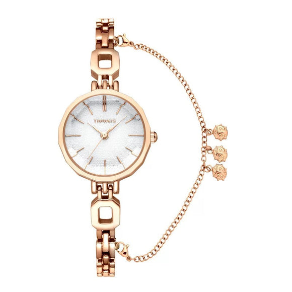Women Creative Design Watch Set Female Jewelry Sets Fashion Cutting Mirror Watch Bracelet Necklace Lady's Gifts With Gift Box