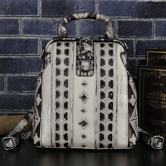 Women Embossed Rucksack Daypack Crossbody Shoulder Bag Multi-Functional Knapsack Cowhide Female 100% Genuine Leather Backpack