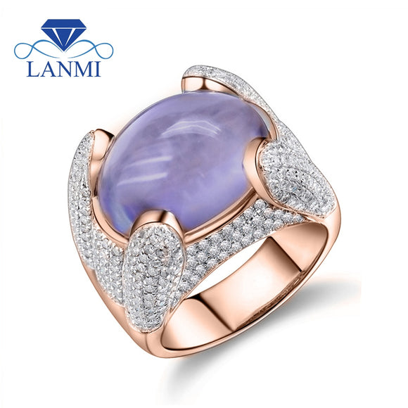Women Rings Vintage Solid 14K Rose Gold Natural Oval 12x15mm Natural Purple Amethyst Ring 585 Gold Diamond Ring Gemstone Jewelry