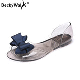 Women Sandals Open Toe Summer Jelly Shoes Woman Fashion Butterfly-knot Flat Sandals Women Beach Shoes Slip On Flip Flops WSH3149