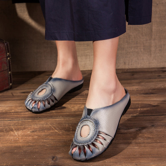 Women Sandals Summer Shoes 2019 New Female Fashion Soft Genuine Leather Hollow Out Moccasins mother shoes Flat sandals women